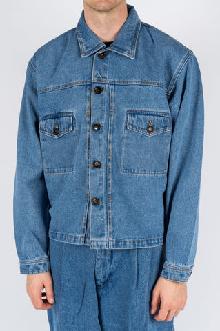 SECOND LAYER DENIM TRUCKER JACKET STONE WASH INDIGO