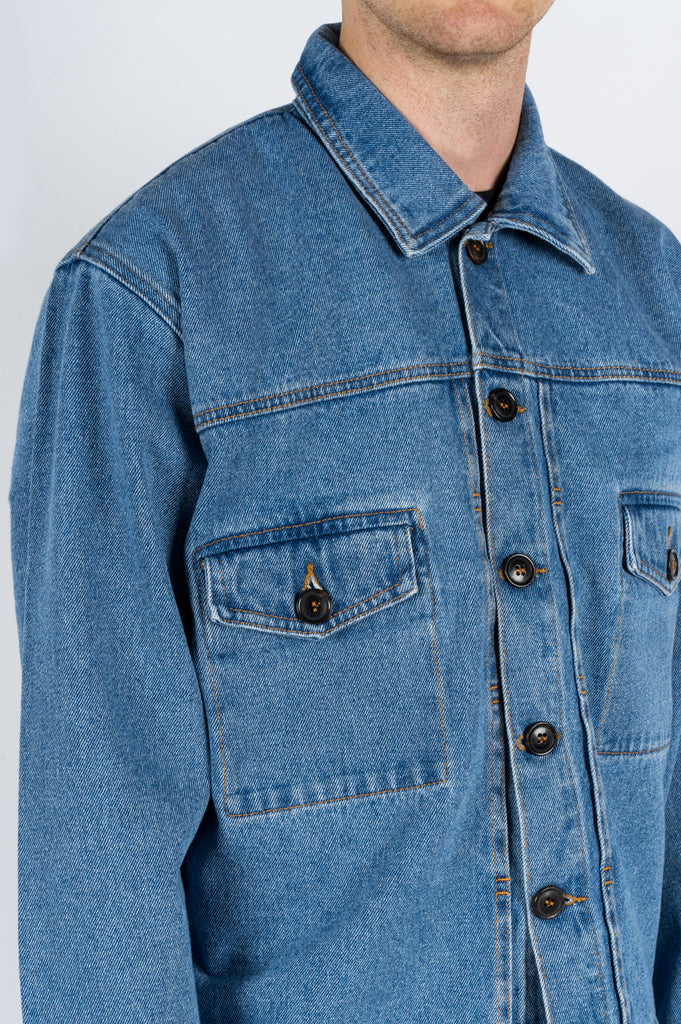 SECOND LAYER DENIM TRUCKER JACKET STONE WASH INDIGO - BLENDS