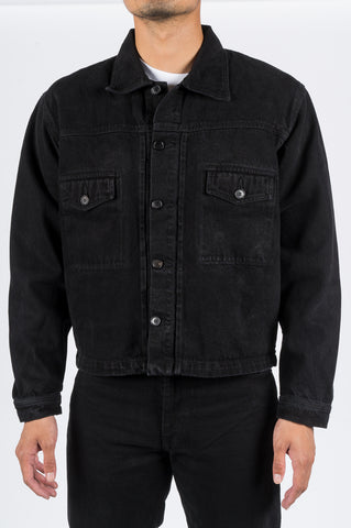 SECOND LAYER DENIM TRUCKER JACKET BLACK STONE WASH