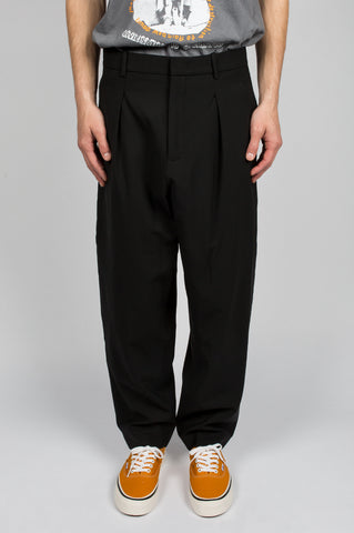 SECOND LAYER PLEATED BILLOWED TROUSER BLACK