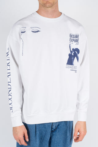 SECOND LAYER SOME VELVET PULLOVER CREW WHITE