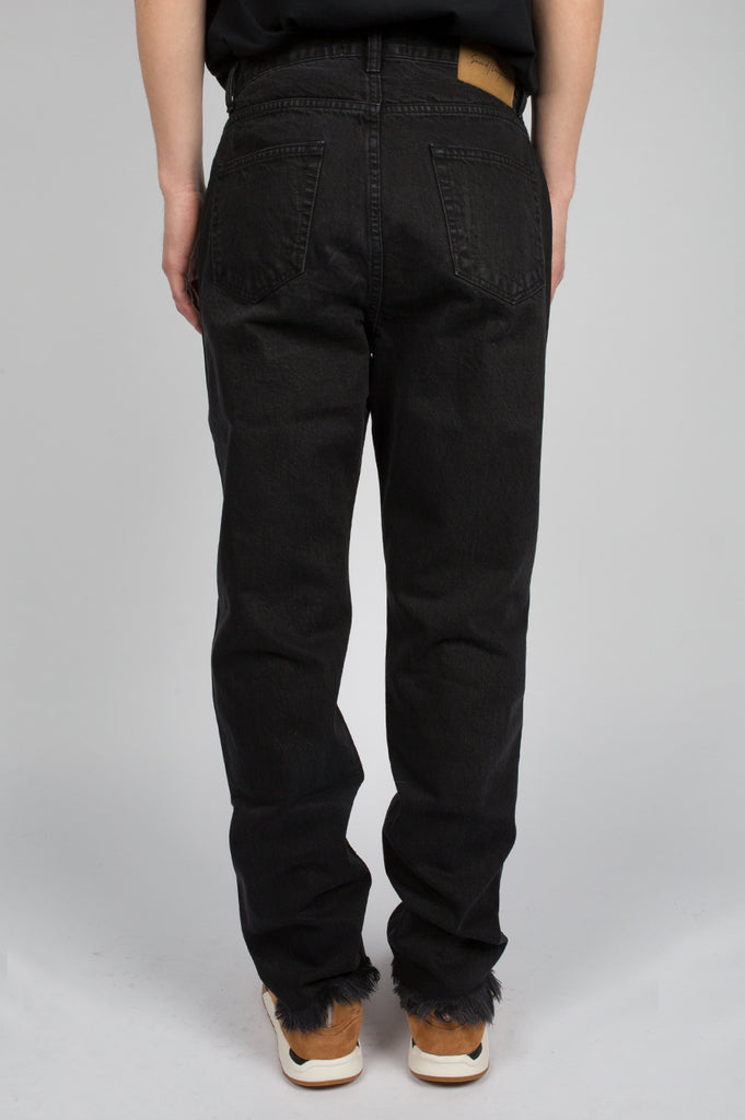 SECOND LAYER DESTROYED HEM DENIM WASHED BLACK