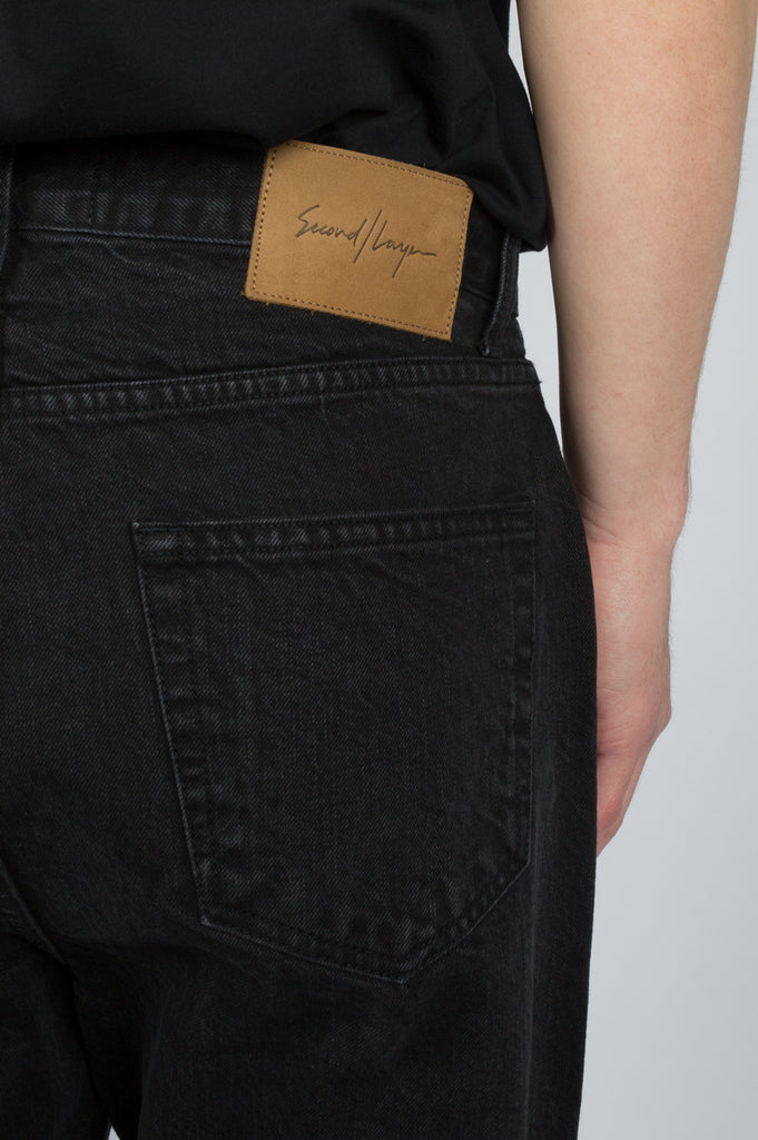 SECOND LAYER DESTROYED HEM DENIM WASHED BLACK - BLENDS
