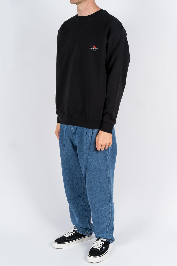 SECOND LAYER ESSENTIAL ROSE PULLOVER CREW BLACK