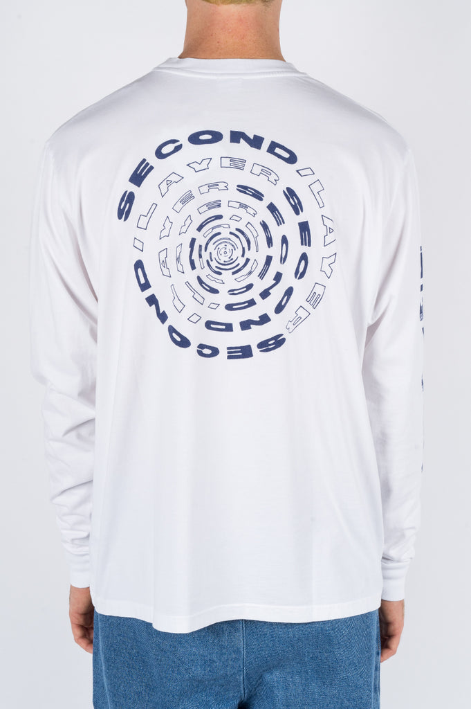 SECOND LAYER SPIRAL LS TSHIRT WHITE