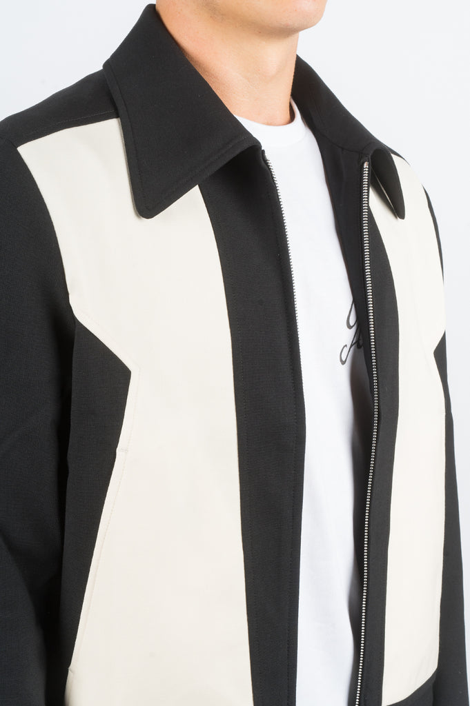 SECOND LAYER ZIG ZAG PANELED JACKET BLACK IVORY