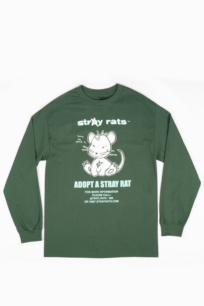 STRAY RATS ADOPT LONG SLEEVE TEE DARK GREEN