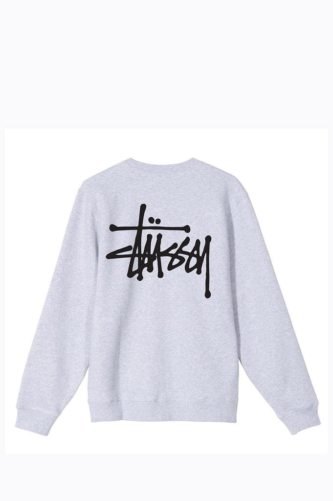 STUSSY BASIC CREW ASH HEATHER