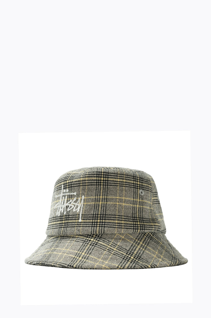 STUSSY BIG LOGO PLAID BUCKET HAT WHITE