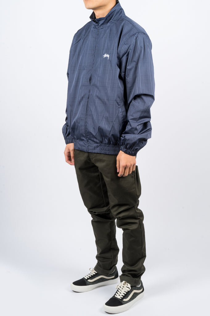 STUSSY TRACK JACKET PLAID NAVY - BLENDS