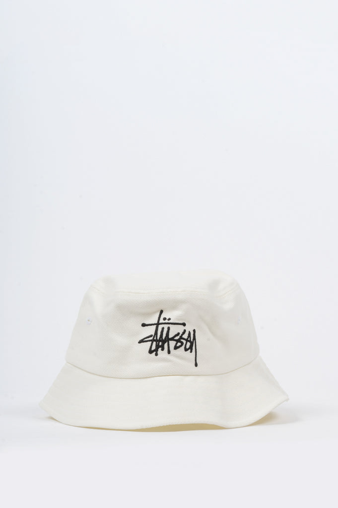 STUSSY BIG LOGO BUCKET HAT WHITE - BLENDS