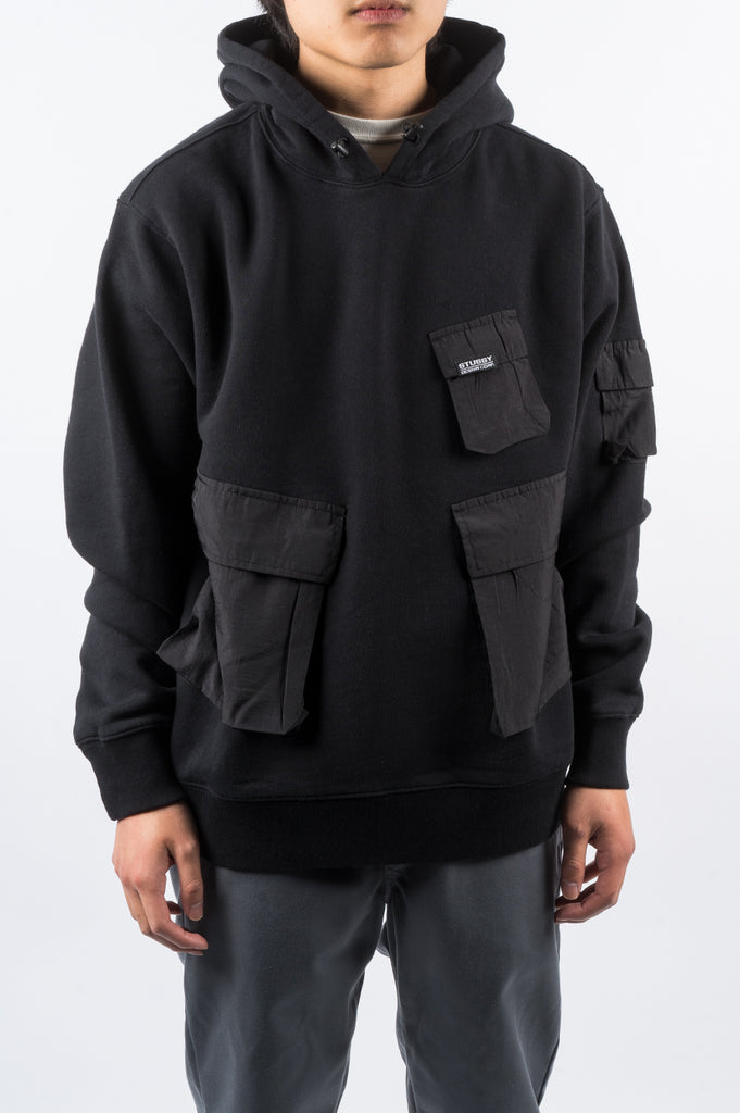 STUSSY CARGO FLEECE HOOD BLACK - BLENDS
