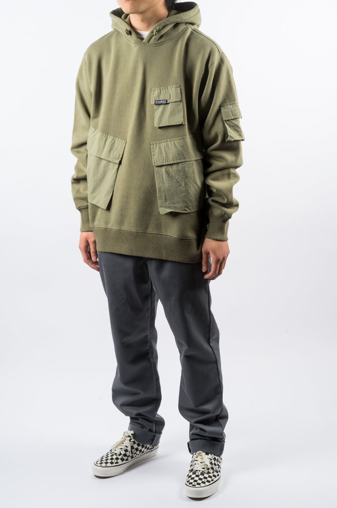 STUSSY CARGO FLEECE HOOD KHAKI - BLENDS