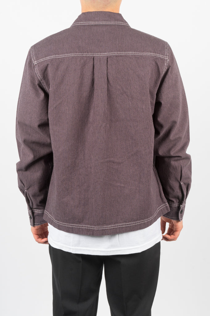STUSSY OVERDYED HICKORY ZIP SHIRT PURPLE