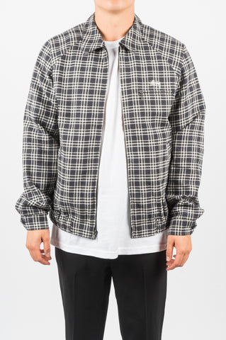 STUSSY PLAID LINEN BRYAN JACKET NAVY