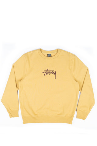 STUSSY STOCK EMBROIDERED CREW SWEATSHIRT KHAKI