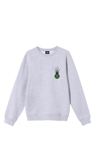 STUSSY KING CROWN LINK CREW ASH HEATHER