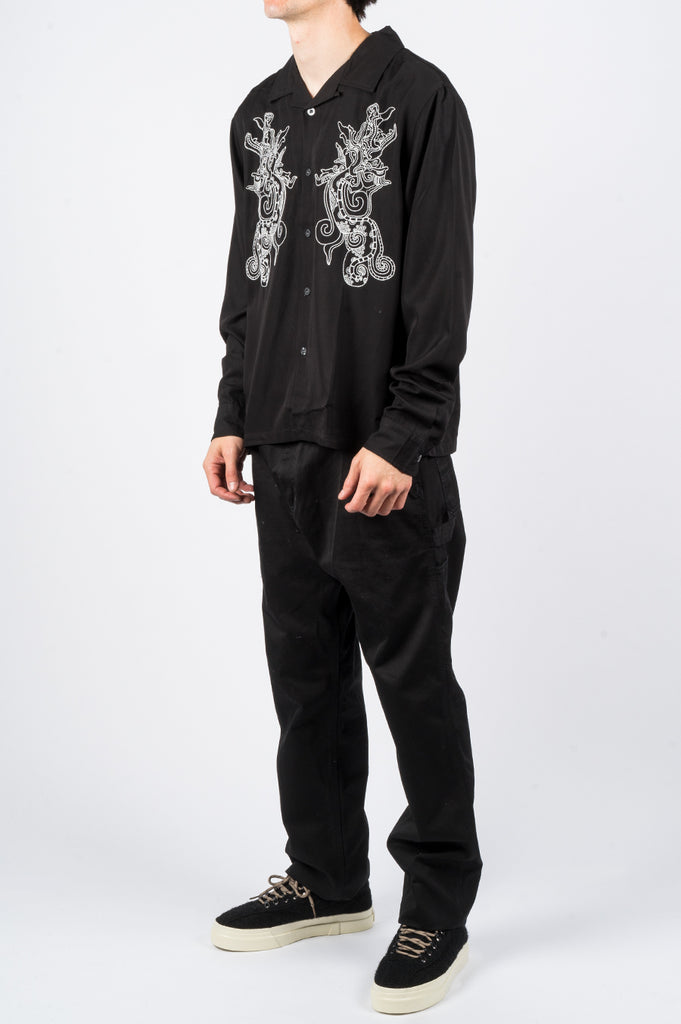 STUSSY EMBROIDERED DRAGON LS SHIRT BLACK