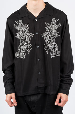 STUSSY EMBROIDERED DRAGON LS SHIRT BLACK - BLENDS