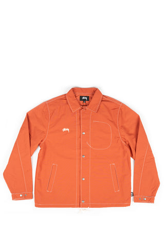 STUSSY FOLSOM COACH JACKET BURNT RED