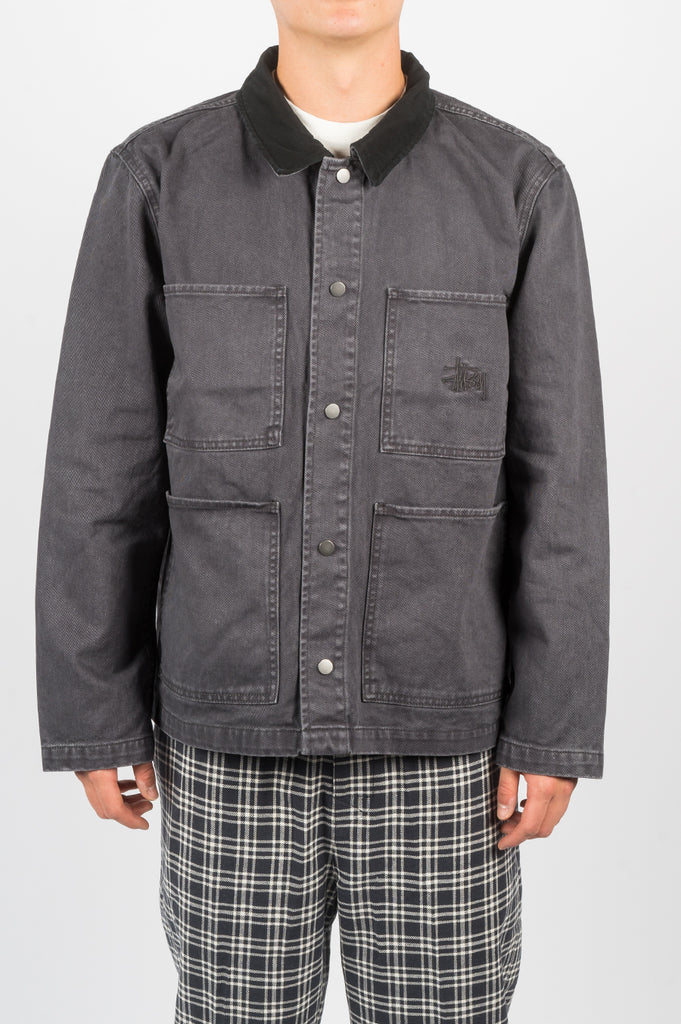 STUSSY HEAVY WASH CHORE JACKET GREY