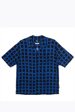 STUSSY HAND DRAWN GRID SHIRT BLACK BLUE