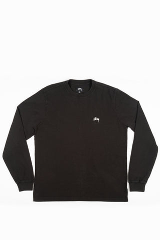 STUSSY STOCK LOGO LONG SLEEVE CREW BLACK
