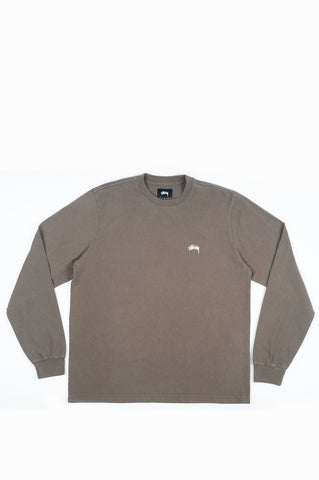 STUSSY STOCK LOGO LONG SLEEVE CREW BROWN