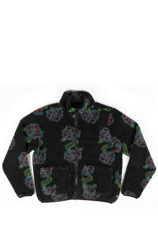 STUSSY FLOR SHERPA MOCK NECK BLACK