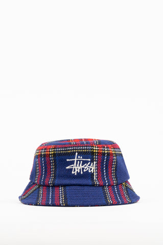 STUSSY BIG LOGO PLAID BUCKET HAT BLUE