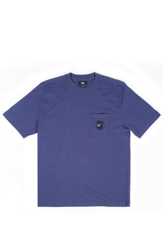 STUSSY 8 BALL POCKET CREW SHIRT NAVY