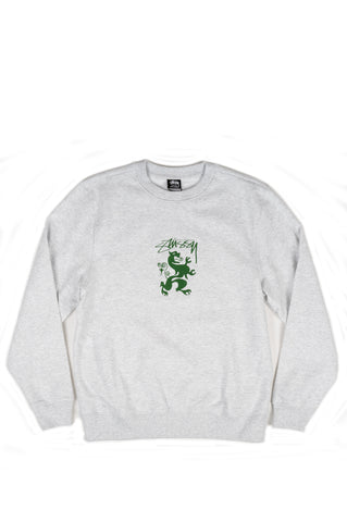 STUSSY REGAL EMBROIDERED CREW SWEATSHIRT ASH HEATHER