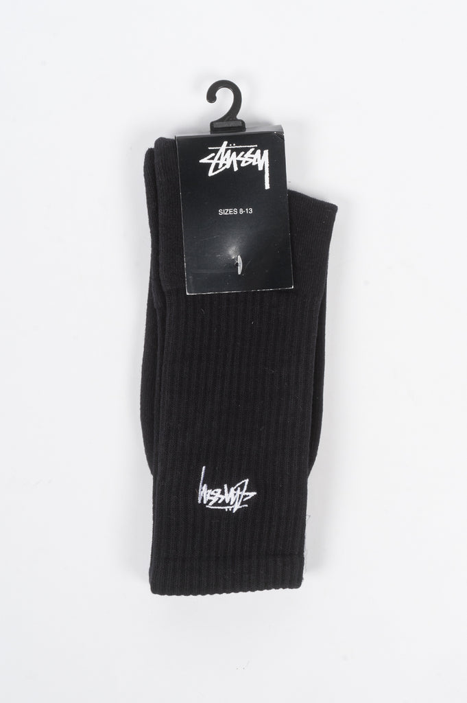 STUSSY SMALL STOCK CREW SOCKS BLACK