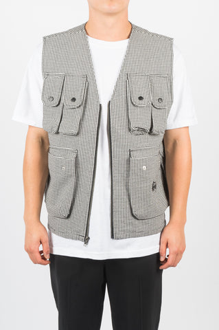 STUSSY HOUNDSTOOTH WORK VEST GREY