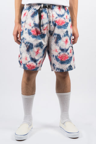 STUSSY TIE DYE SPORT SHORT WHITE RED BLUE - BLENDS