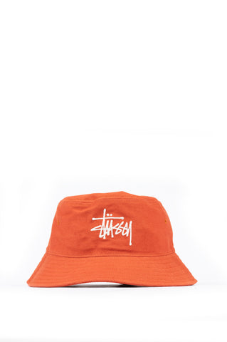 STUSSY BIG LOGO TWILL BUCKET HAT ORANGE