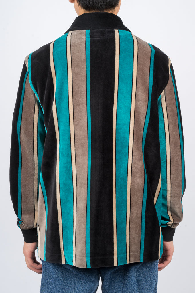 STUSSY ROLAND STRIPE LS FULL ZIP BLACK - BLENDS
