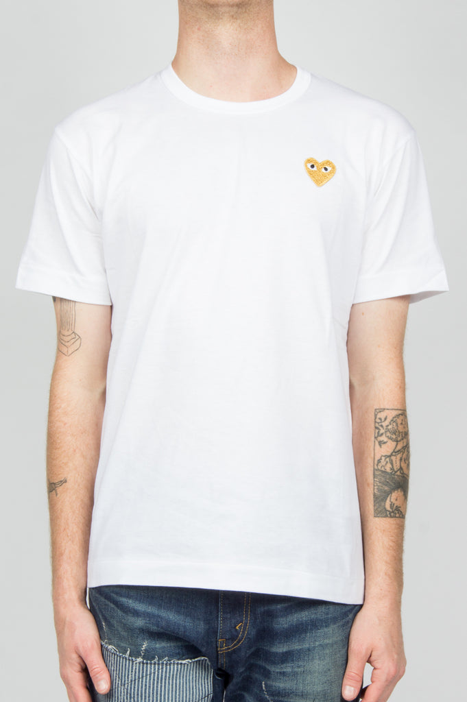 COMME DES GARCONS PLAY GOLD HEART TSHIRT WHITE