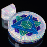 Faceted 3D Sacred Geo Opal Inlay Pendant