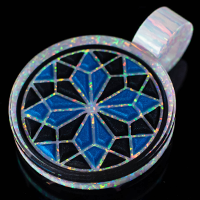 3D Geometric Opal Inlay Pendant