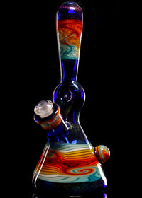 Mitchell Glass Iridized Cobalt Donut Linework Tube