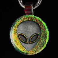 Faceted 3D Alien Inlay Opal Pendant
