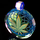 Faceted 3D Leaf Inlay Dichro Pendant