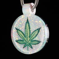 3D Leaf Inlay Opal Pendant