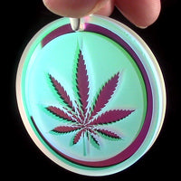Blasted Dichroic Refractor Coin Leaf Pendant