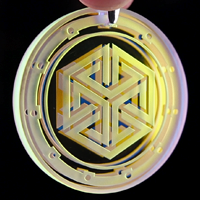 Blasted 3D Geometry Dichroic Refractor Coin Pendant