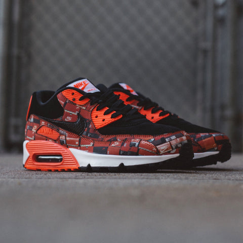 NIKE X ATMOS AIR MAX 90 PRINT BLACK BRIGHT CRIMSON WHITE