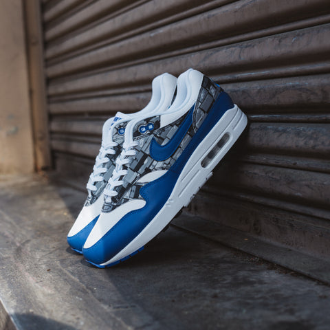 NIKE X ATMOS AIR MAX 1 PRINT WHITE GAME ROYAL NEUTRAL GREY