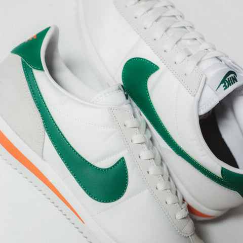 NIKE CORTEZ BASIC NYLON WHITE HABANERNO RED PINE GREEN