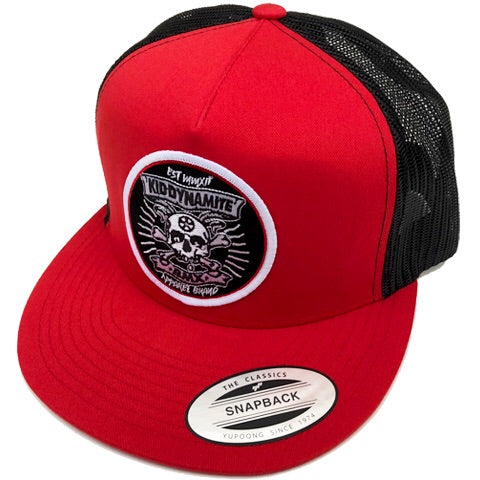 KDM SnapBack Red and Black Mesh Back Hat